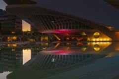Reflections in water after sunset in city of art and science. Valencia, Spain Royalty Free Stock Images