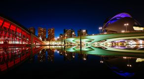 Reflections in water after sunset in city of art and science. Valencia, Spain Royalty Free Stock Photography