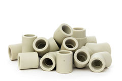 A lot of combined fittings for plastic pipes Royalty Free Stock Image