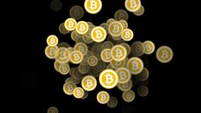 Lot of constantly appearing bitcoins. 3d animation. Symbol of virtual currency on the background of computer code. 3d animation stock illustration