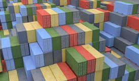 A lot of containers in port. Logistics concept. 3D rendered illu Royalty Free Stock Photo
