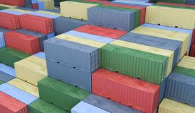 A lot of containers in port. Logistics concept. 3D rendered illu Stock Photos