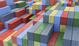 A lot of containers in port. Logistics concept. 3D rendered illu Stock Photo