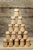 A lot of corks building a pyramid Royalty Free Stock Photos