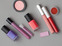 It is a lot of cosmetics, the top view. stock photo
