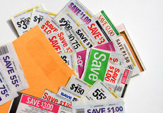 A lot of coupons in envelope. It is a picture about many coupons save in a envelope Stock Images