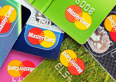 A lot of credit cards by MasterCard. RUSSIA, OREL - 26 NOVEMBER 2014: A lot of credit cards by MasterCard Royalty Free Stock Photos