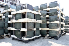 Lot crt monitor. Lot of crt monitor for recycle from bangkok thailand Royalty Free Stock Photos