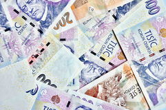 A lot of czech crowns banknotes Royalty Free Stock Photos