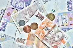 A lot of czech crowns banknotes Stock Photos