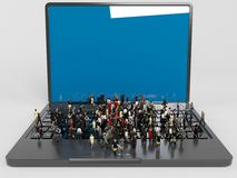 A lot of 3d characters on a laptop Stock Photo