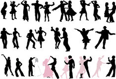 A lot of dancer silhouettes Royalty Free Stock Photography