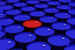 A lot of dark blue and one red vat. Stock Photos