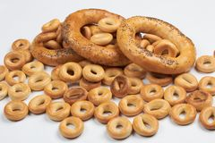 A lot of delicious bagels. Royalty Free Stock Image