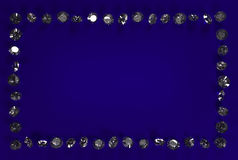 Diamonds on a blue background. A lot of diamonds on a blue background. Harvesting for advertising. Abstraction. Space for advertising text Stock Images