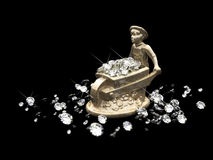 A lot of diamonds and marble statuette Stock Images