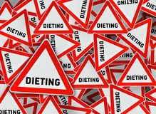 A lot of dieting triangle road sign Royalty Free Stock Photo