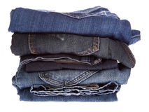 Lot of different blue jeans Royalty Free Stock Photos