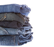 Lot of different blue jeans Royalty Free Stock Photo