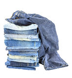 Lot of different blue jeans isolated Stock Photography