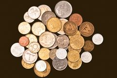 Lot of different coins Stock Images