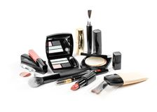 A lot of different cosmetics in one photograph. Lipstick, eye sh royalty free stock photo
