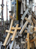 A lot of different crosses most of wood tied to support as memorial. Royalty Free Stock Image