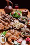 A lot of different dishes Royalty Free Stock Photos