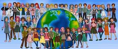 World kids. A lot of different faces in teenagers illustrations Royalty Free Stock Photo