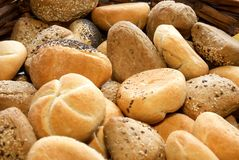 a lot of different fresh buns from bakery Royalty Free Stock Images