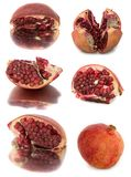 A lot of different garnets. beautiful, juicy, ripe pomegranate on white background, juicy and bright Garnet without background,. Isolate Stock Images