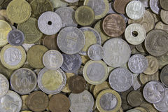 A lot of different metal coins laying on each other Royalty Free Stock Images