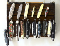 Lot of different penknife Stock Photo
