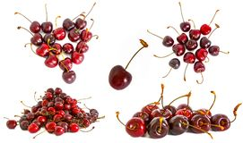 A lot of different sweet cherry on a white background, stock images