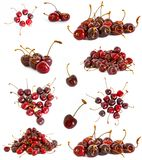 A lot of different sweet cherry on a white background, Royalty Free Stock Photography