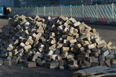 A lot of dismantled pavers moscow.  Stock Photos