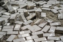 A lot of dismantled pavers moscow.  Stock Photo