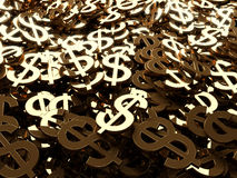 A lot of dollar signs. A lot of gold dollar signs with relections Royalty Free Stock Photos