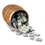 A lot of dollars fall out of a wooden barrel. Royalty Free Stock Photo