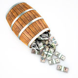 A lot of dollars fall out of a wooden barrel. Royalty Free Stock Image