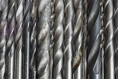 Lot of drill bits. Drill bits for metal surfaces Royalty Free Stock Photos