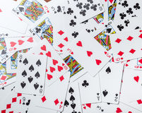 Lot of dusty old playing cards Royalty Free Stock Images