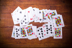 Lot of dusty old playing cards Stock Photos