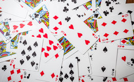 Lot of dusty old playing cards Royalty Free Stock Photos