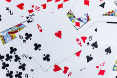 Lot of dusty old playing cards.  Royalty Free Stock Images