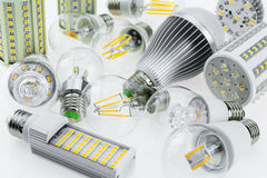 Lot E27 LED bulbs with different types of chips Royalty Free Stock Photos
