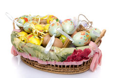 A lot of easter eggs in a basket Stock Photos