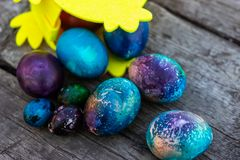 A lot of easter eggs for Christian seasonal holiday. Easter eggs for Christian seasonal holiday.Easter homemade bread and painted eggs for holiday stock image