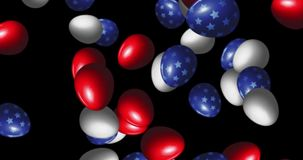 Lot of Easter eggs painted in USA flag. Lot of Easter eggs flying and rotate on black background. All painted in USA flag colors - red, white and blue with stars stock footage