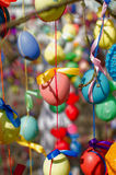 A lot easter eggs on the tree Stock Photo